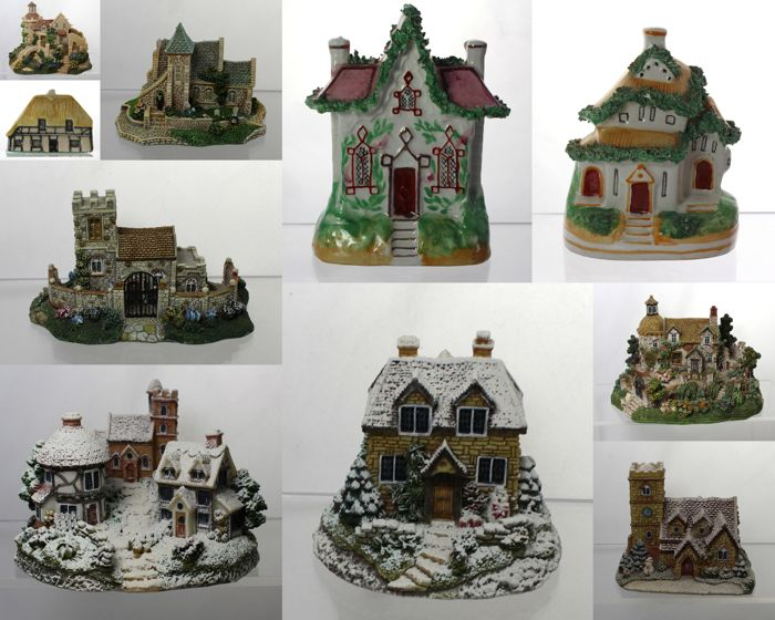 Collection of 10 antique and vintage miniature cottages including 2 rare early Victorian models