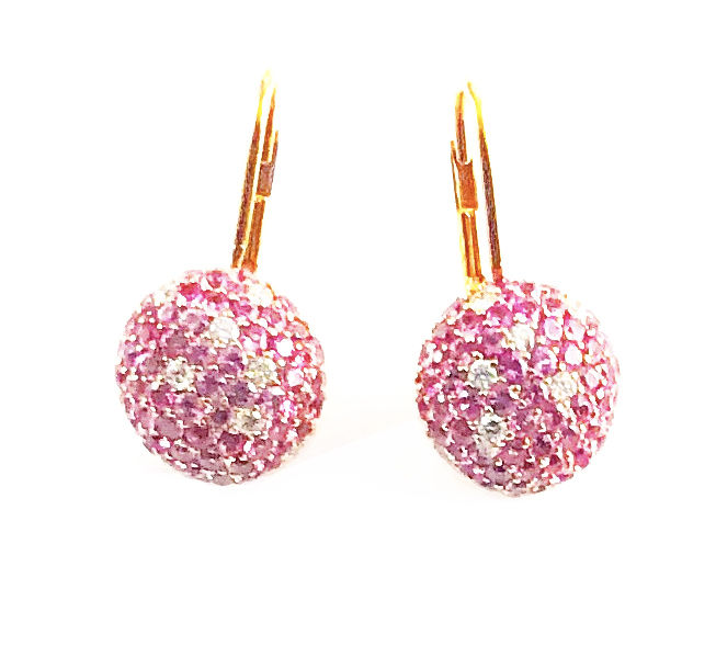 Paola Ferro - 18k Pink Gold - AAA quality Pink Sapphires - VS quality Diamonds Earrings.