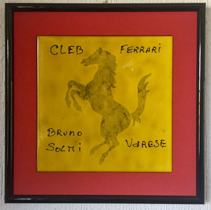 Ceramiche Piemme Fiorano - Picture with official Ferrari tile hand-decorated exclusively for the Ferrari Club Varese - Italy - late 1980s