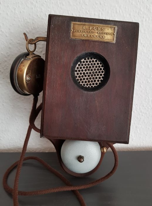 A. Pons wall phone from wood complete, France, ca. 1900
