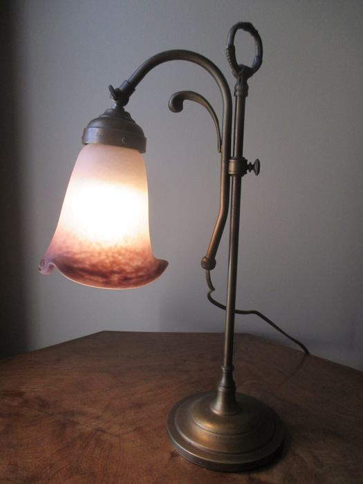 Art Deco lamp in bronze and brass - Rethondes tulip