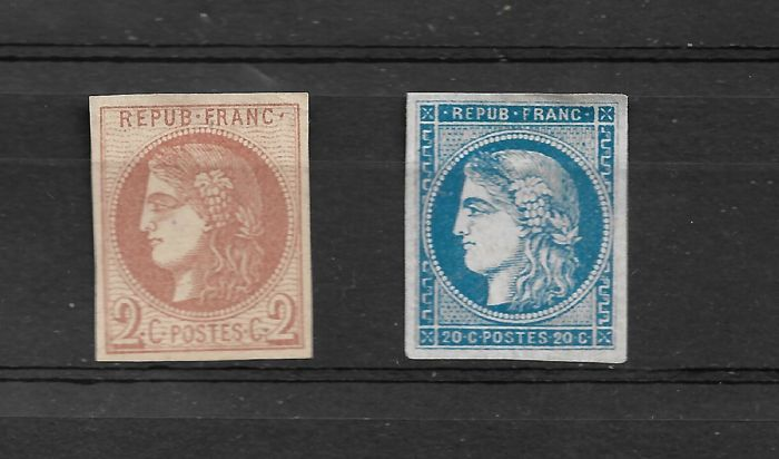 France 1870 - Selection of Two Bordeaux Type Stamps - Yvert 40B and 46B