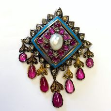 18ct Yellow Gold Pearl, Ruby & Diamond Brooch