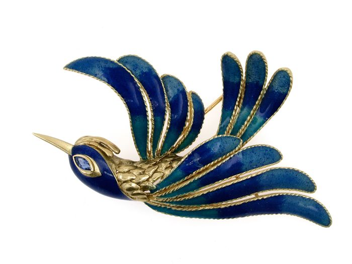 Rare Mauboussin Colibri or Bird of Paradise brooch vintage, sapphire 1950 Signed and numbered