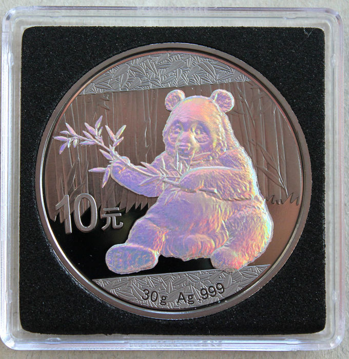 China - 10 yuan 2017 'Panda' ruthenium/hologram plated edition - 30 g silver