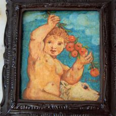 Art Nouveau miniature in tempera - cherub with dog - early 20th century - Italy - wood and tempera
