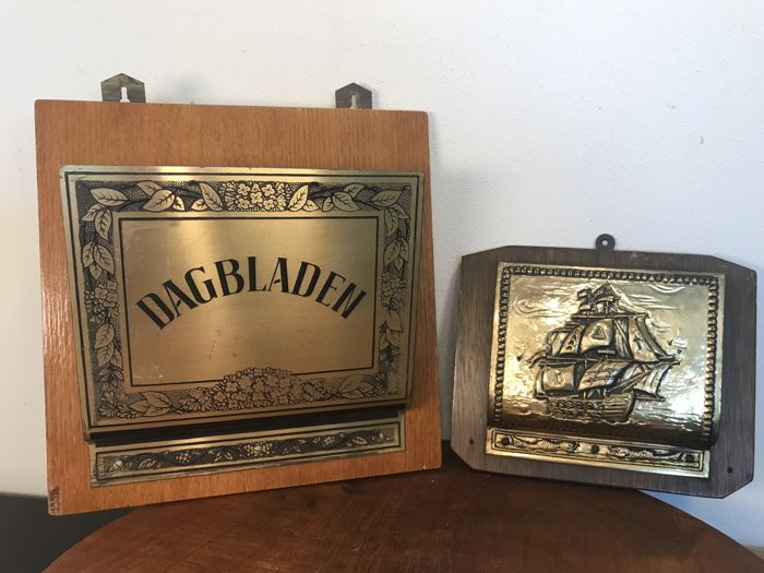 Set of unique Dutch copper and wooden newspapers and letter holders - ca. 1950