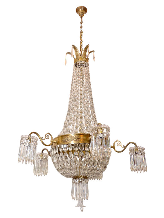 Impressive crystal chandelier (Height 175 cm) with brass and bronze mounts in Empire-style - France - ca. 1900