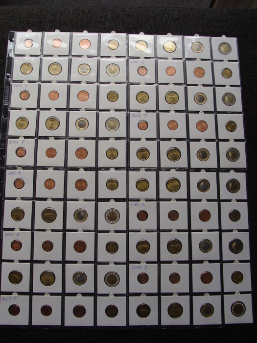 Germany - Year series 2002 + 2003 A, D, F, G, J complete in coin sheets (80 coins)