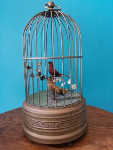 Bird cage music box with two little birds - working -Mid 20th century