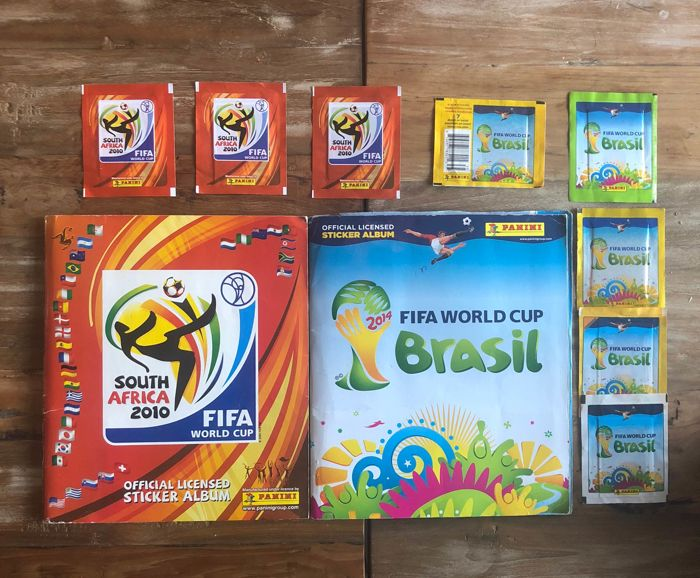 Panini - WC South Africa 2010 + Brasil 2014 - 2 complete albums + 8 sealed packs.