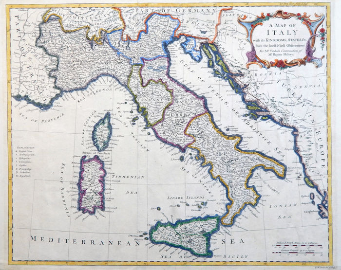 Italy; Nicholas Tindal & Rapin - A Map of Italy with its Kingdoms, States - 1750