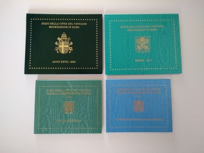 Vatican - 2 year collections (2005 & 2013) and 2x 2 Euro commemorative coins (2010 & 2012)