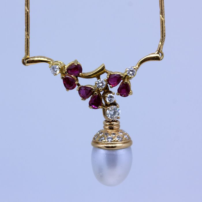 Gold necklace with Australian pearl, diamonds and rubies