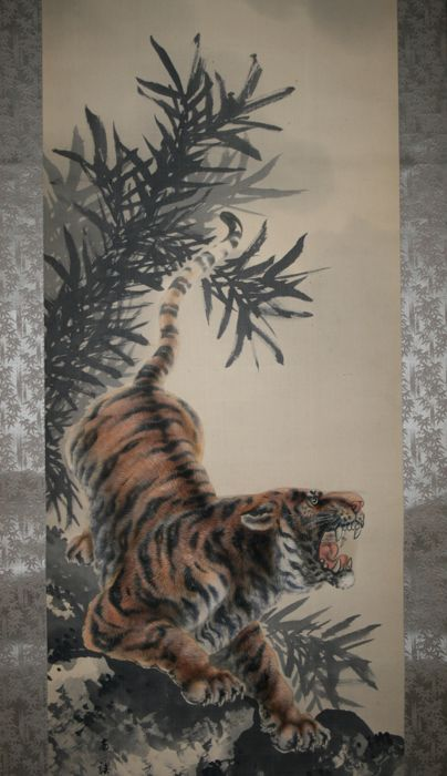 Scroll painting signed and sealed by Mizuno Nankei (1886-1968) - 'Roaring tiger' - Japan - Early 20th century