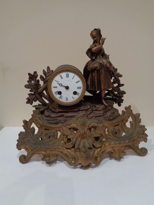 Vintage Table Clock With Bronze Sculpture   Brand: Brevete, Japy Freres U0026  Co.