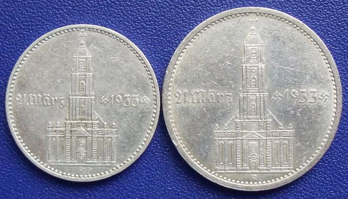 Third Reich - 2 and 5 Reichsmark 1934 A - Anniversary of the opening of the Reichstag in the garrison church - Silver