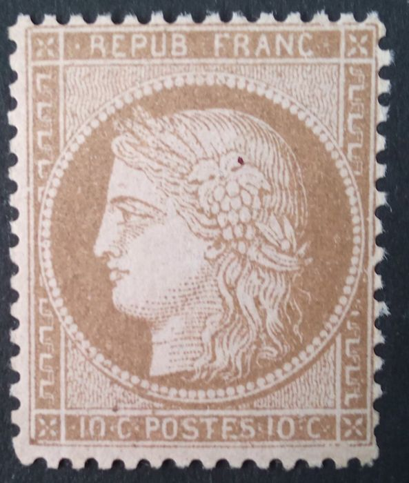 France 1873 - Cérès perforated, 10c Brown Pink, signed Brun - Yvert n° 58