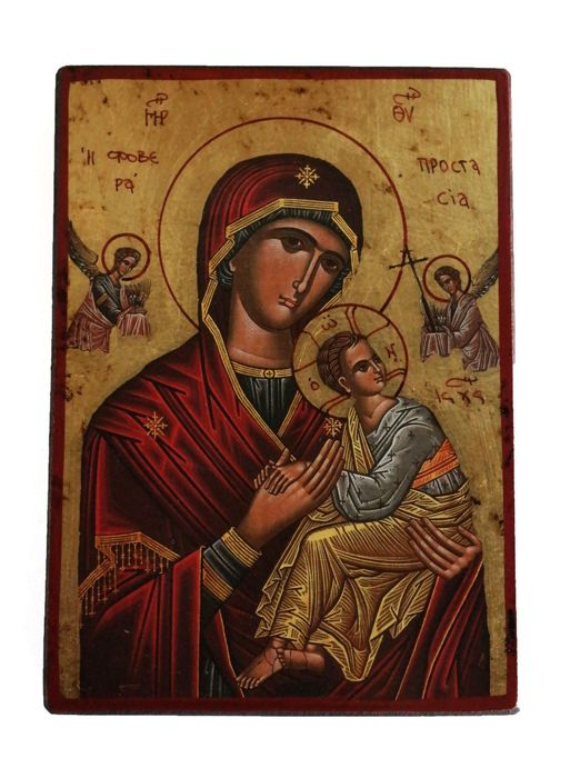 Byzantine art, wood panel with gold background, Madonna Fobera Prostasia icon - Greece, 19th century