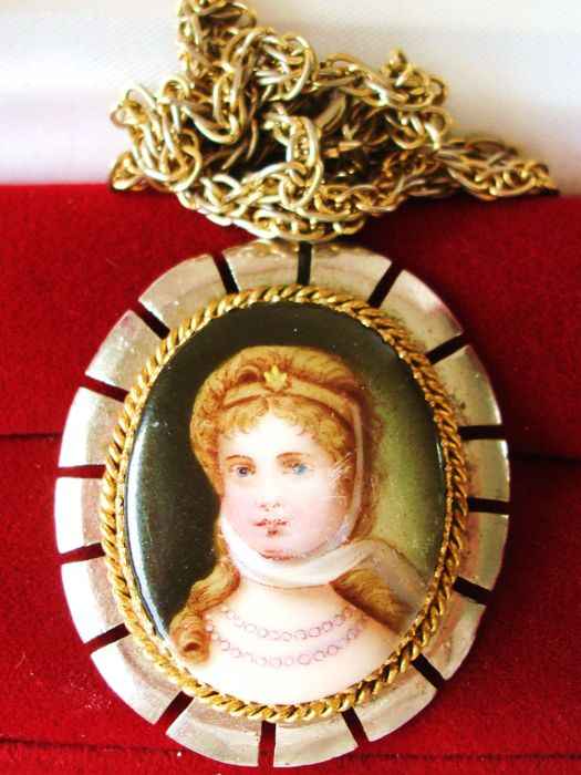 Antique custom made necklace of chain porcelain pendant with antique custom made necklace of chain porcelain pendant with miniature enamel portrait of princess charlotte aloadofball Images