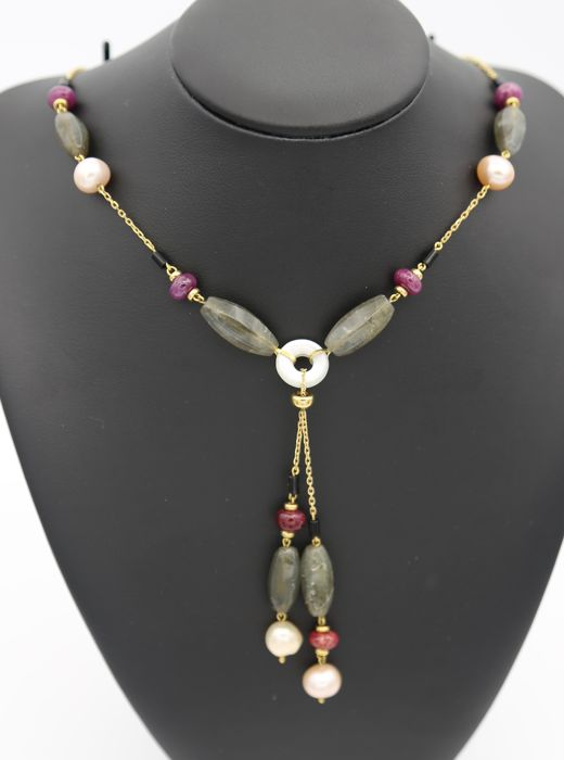 Hand-bound 750 yellow gold choker - various natural stones, amazonite, ruby, black onyx, pearls