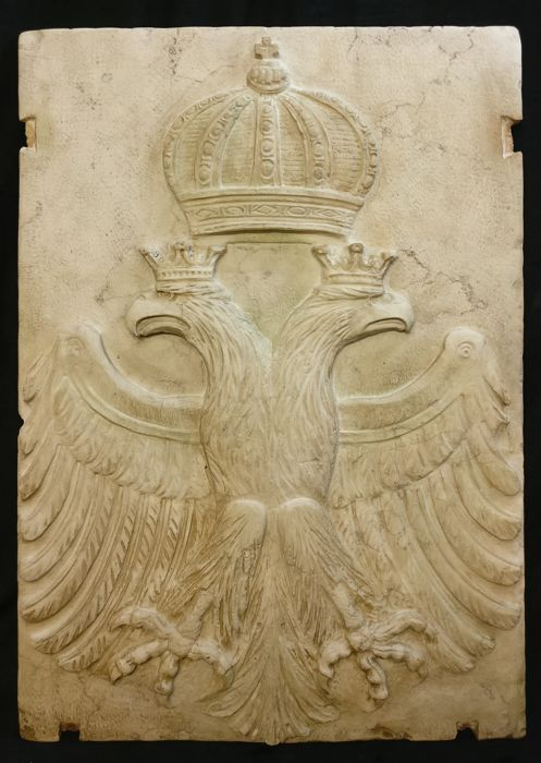 Great Habsburg Imperial Coat of Arms, Trani marble, crafted and carved by hand - Double-headed Eagle - Austria - Late 19th c