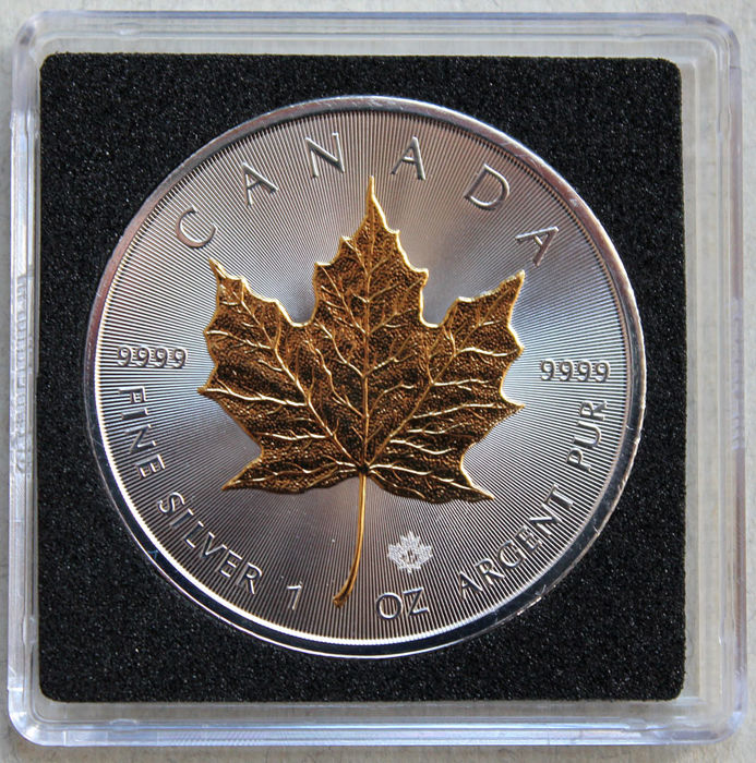 Canada - 5 Dollars 2017 'Maple Leaf' with 24 kt gold application - 1 oz silver