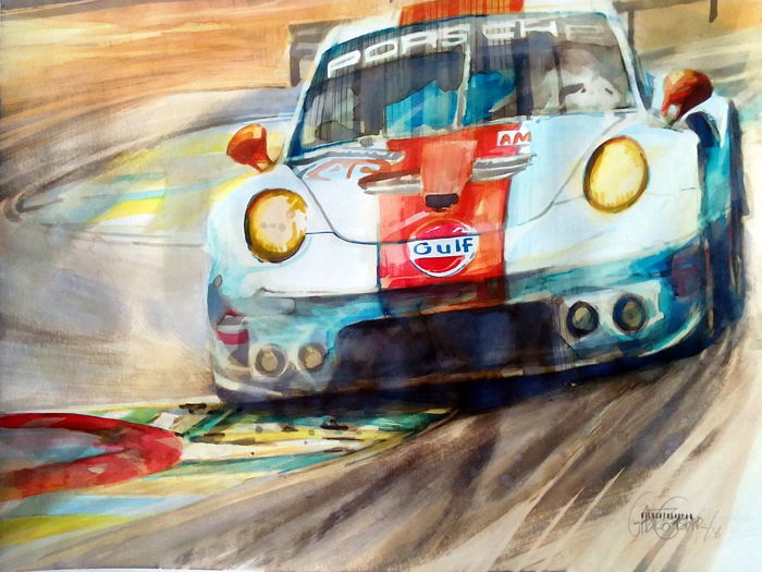 Porsche Gulf 24 h Lemans - Original Watercolour - 40 x 50 cm - By Gilberto Gaspar