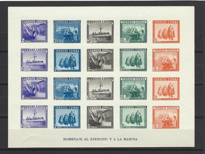 Spain 1938 – Sheet of imperforate stamps, tribute to the army and navy – Edifil 850.