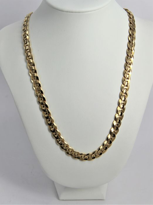 Spectacular necklace, made in Italy, stud-link chain in 18 kt yellow gold - weight 49.8 g - length 51 cm
