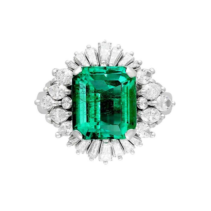 GIA Certified 6.02ct AAAAA Natural Emerald Diamond Ring- Ring Size: US7.5