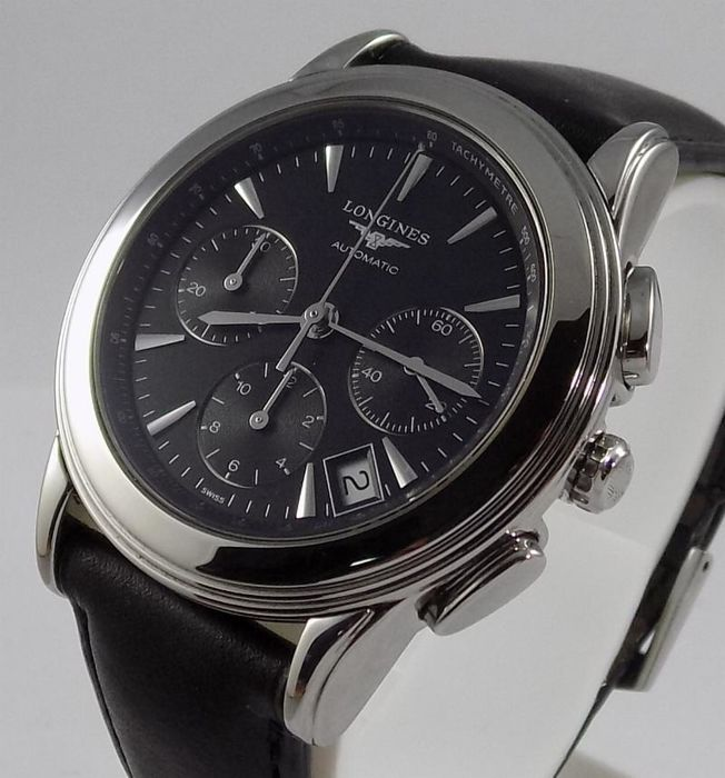 Longines - Flagship Black - Classic Chronograph - L4.718 - Men - 2000-2010