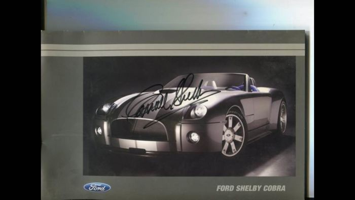 Carroll Shelby brochure, authentic signature