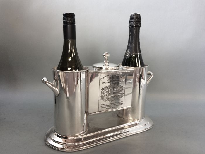 Luxurious wine cooler for two bottles and ice container in the middle, engraved with Cos d'Estournel and Chenas