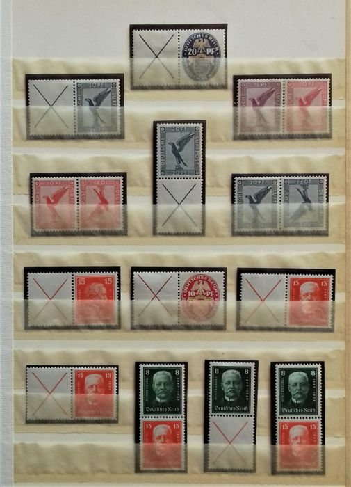 German Reich 1925/32 - Se-tenant stamps from pages and stamp booklets in stock sheets - MH 18-26