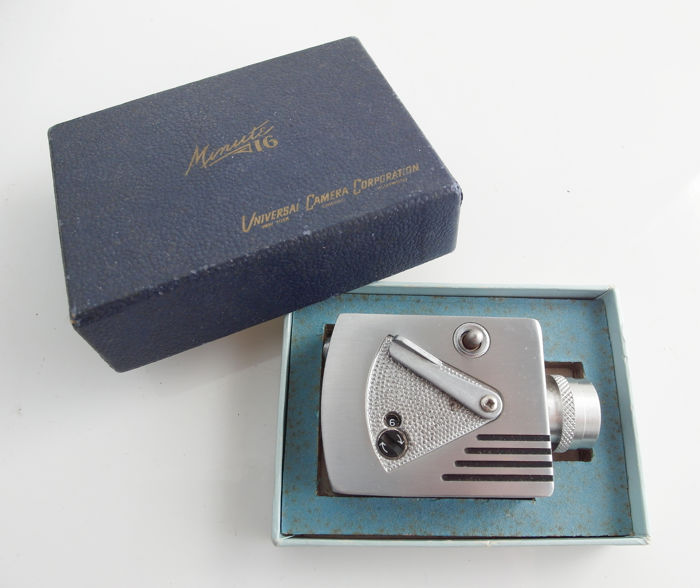 Universal Minute 16 sub-miniature camera with original gift box and user manual, made of stainless steel Length only 7 cm