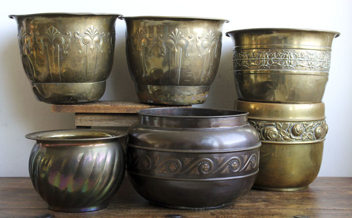 Collection of six - Art Nouveau - Copper and bronze pots - Daalderop, Tiel - Made in England
