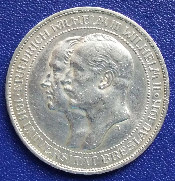 German Empire, Prussia - 3 mark 1910 A to celebrate 100 years of the University of Breslau - silver