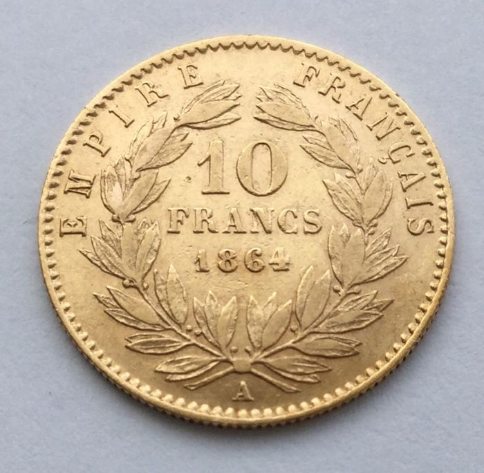 France – 10 Francs 1864 A – Napoleon III – gold