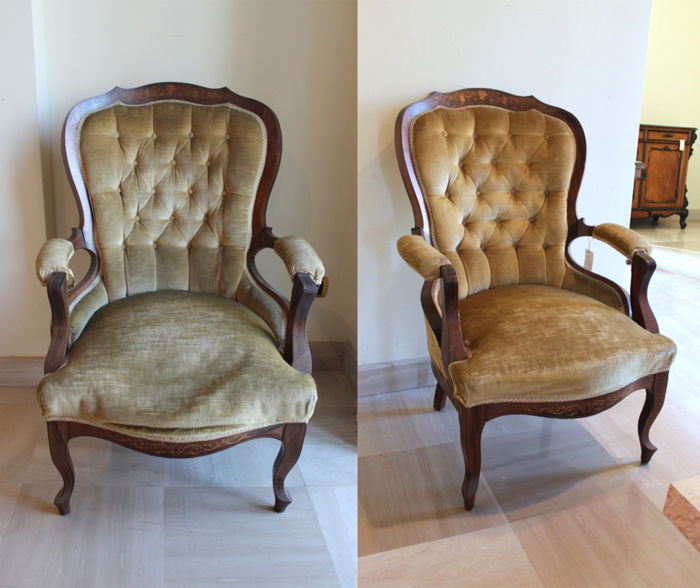 Pair of inlaid rosewood armchairs France, Charles X period, 19th century