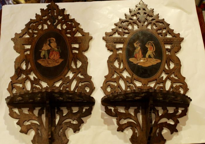 Pair of carved and inlaid shelves from Sorrento Italy, 19th century