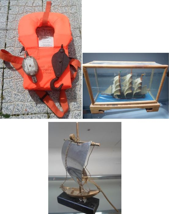 Only lot - old wooden pulley, winch cable with metal pulley, boat life saver, R boat in metal and miniature frigate