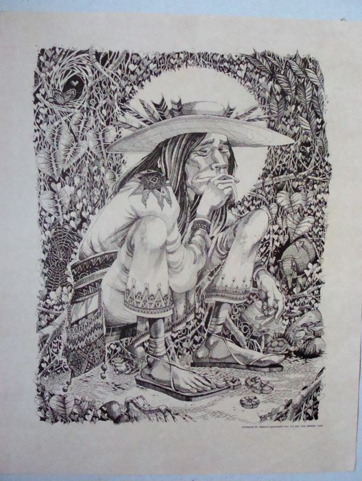 Psychedelic Mescalito Man - Huichol Indian by Rick Griffin 1967
