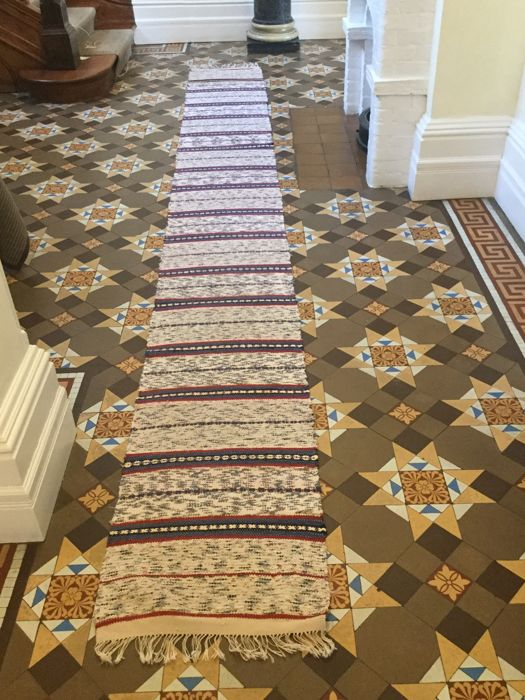 Unknown designer -  Vintage cotton rag rug swedish handmade hallway runner.