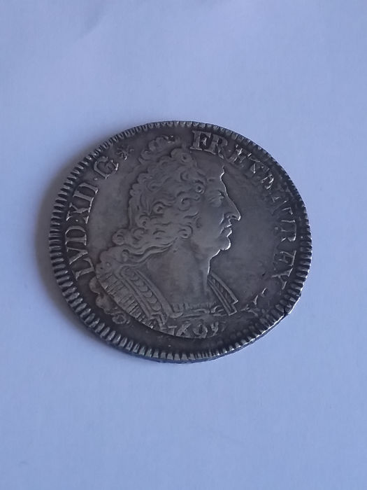 France – Louis XIV – Ecu with palm leaves 1694 – silver