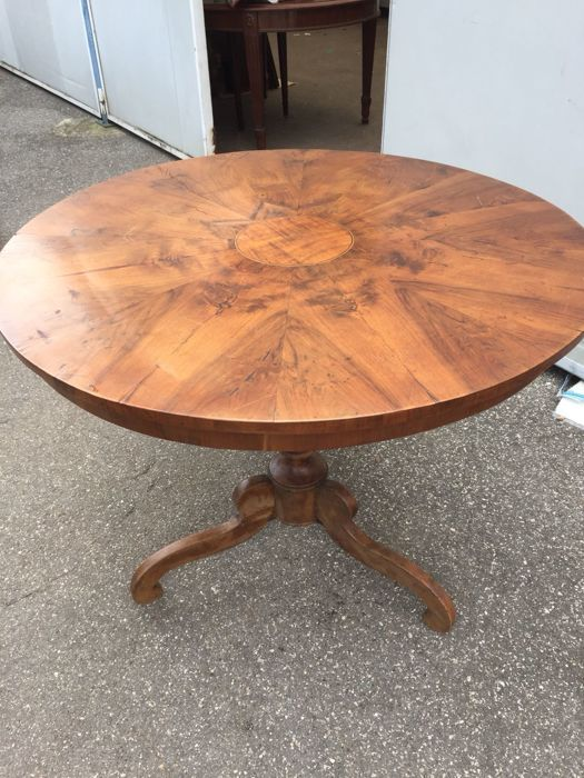 Solid walnut table with inlays, Italy, late 19th century
