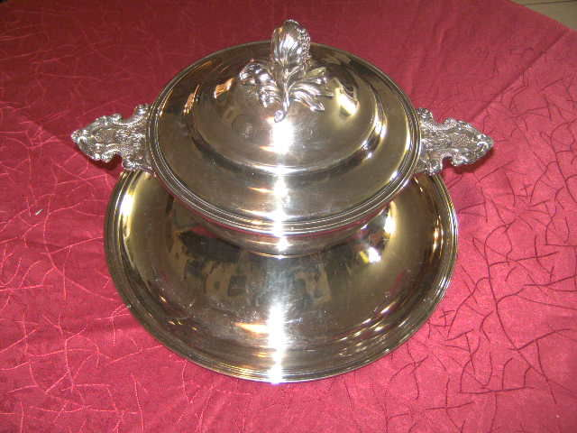 Christofle silver plated metal tureen with presentation tray