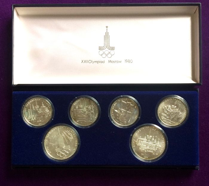 Russia - 5 and 10 Roubles 1977 Coin set XXII Olympic Games - Silver