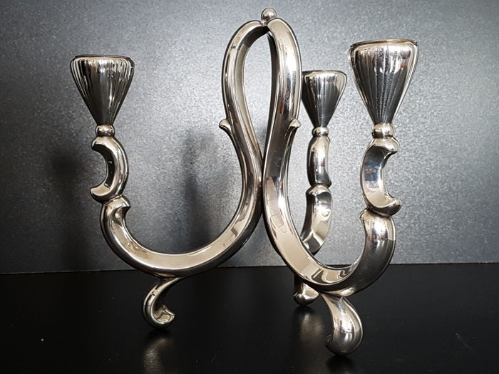 Heavily silver-plated 1930s candlestick - Art Deco - Silverplate