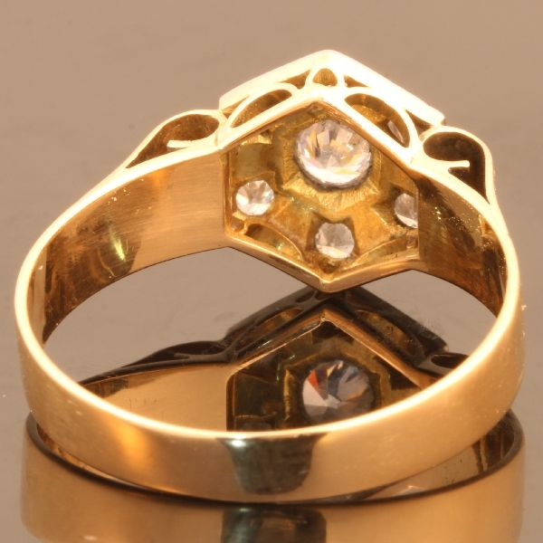 7c77471a4bcda Fifties deco style ring with 7 diamonds - Catawiki